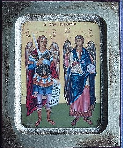 Erzengel St. Michael und St. Gabriel. Engel Holz Icon. Guardian Angel Protect Me. Hand aus Holz Griechisch Icon 13CMS X 17CMS.