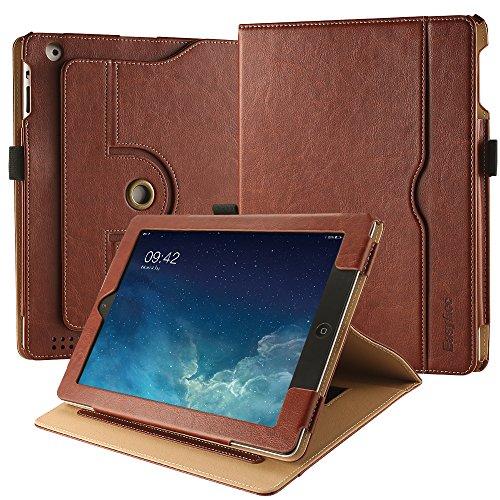 EasyAcc Hülle für iPad 2 3 4, 360 Grad Drehung PU Leder Langlebig ohne Plastikund, Tasche Stifthalter, Auto Wake/Sleep, Kompatibel für iPad 2 3 4, Braun