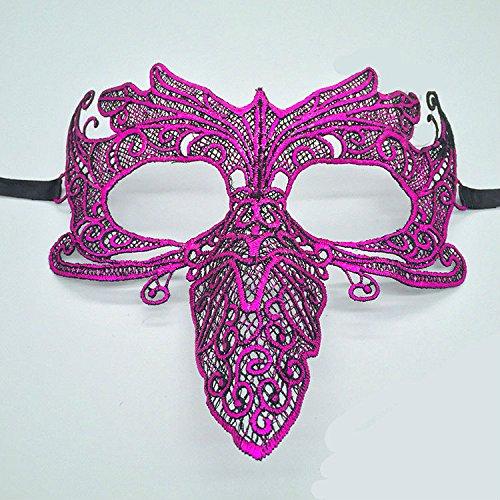 Leicht und einfach zu Tragen Kreative Halloween Maskerade Papagei Spitze Maske (Rose)