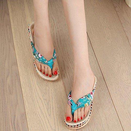 Longra Donna Lady sandali da spiaggia floreale Blu