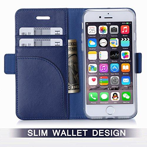 iPhone 8 Hülle , iPhone 7 Hülle, Fyy® [RFID Blockierender Geldbeutel] [Echtes Leder] 100% handgenähter Geldbeutel mit Kartenhaltern für iPhone 8/7 ,Schwarz 1AA-Schwarzblau
