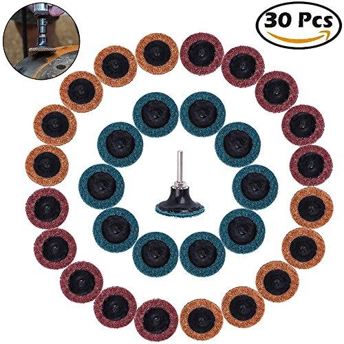SROL 30 teilig 2 Zoll Roloc Mix Grit Schleifscheiben Roll Rotary Tool Schnellwechsel Roll Lock Resin Faser Pad Oberflächenkonditionierung mit Pad Adapter Dics Holder (2inch Schleifscheibe)