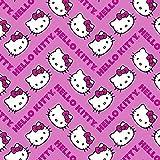 Hello Kitty Stoff–Hello Kitty schreiben Pink–sc143–von 0,5m–100% Baumwolle