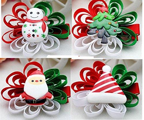 Cuhair (tm) 4pc Noël Ribbon Bow pour cheveux barettes de pince à cheveux broches accessoires pour cheveux pince à cheveux femmes Teens filles Bébés tout-petits arbre bonhomme de neige cerfs