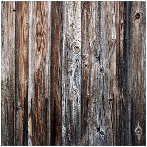 Wallario Möbeldesign/Aufkleber, geeignet für IKEA Lack Tisch - Alte Holzwand - Holzplanken in grau und braun in 55 x 55 cm - Alter Lack