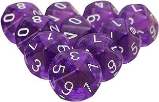 SODIAL 10 Pieces Des D10 De a 10 faces pour RPG Donjons & Dragons Jeux de table Board Transparent Violet