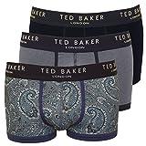 Ted Baker 3-Pack Plain, Stripe & Paisley Print Men's Boxer Trunks, Blue/Navy