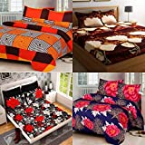 RS Home Furnishing Glace Cotton Double Bedsheet with 8 Pillow Covers Combo (Multicolour) - Set of 4