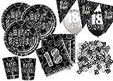 56 Teile zum 18. Geburtstag Party Set in Schwarz für 16 Personen
