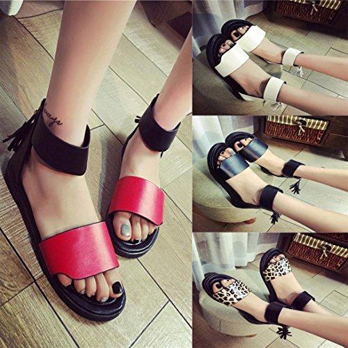 Transer ® Fashion femmes Mesdames sandales d'été plat confortable tongs Noir