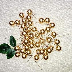 Yiwa 100 Stück 10 mm künstliche Beeren dekorative Früchte für DIY Weihnachtsbaum Girlanden Home Hochzeit Dekoration Künstliche Blumen Gold