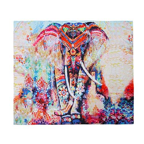 VORCOOL Indio Mandala Tapiz Elefante Floral Pared Colgantes Bed Sheet Toallas de Playa Sol Esterilla de Yoga Block-Manta, 150x 130cm
