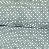 Stoffe Werning Baumwollstoff Waffelpiqué Herzen Hellgrau Frottee Kinderstoffe Babystoffe Herz Öko-Tex - Preis Gilt für 0,5 Meter