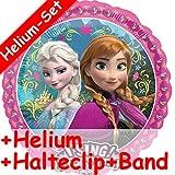 Singender Folienballon Set * FROZEN - DIE EISKÖNIGIN + HELIUM FÜLLUNG + HALTE CLIP + BAND * für Geburtstag // Disney Helium Kindergeburtstag Deko Ballongas