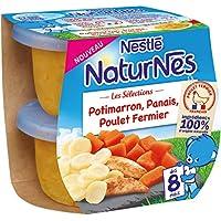 Nestlé Bébé NaturnesLes Sélections Potimarron, Panais, Poulet Fermier - Plat Complet dès 8 Mois - 2 x 200g - Lot de 8