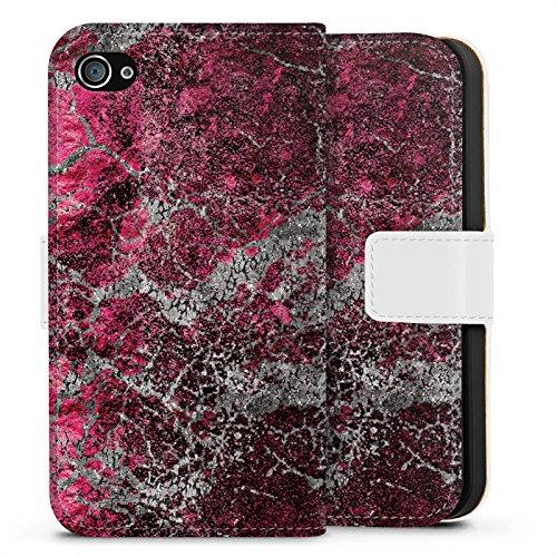 Apple iPhone X Silikon Hülle Case Schutzhülle Stein Struktur Muster Look Sideflip Tasche weiß