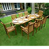 Salon de jardin en teck 8 fauteuils de jardin en teck empilables