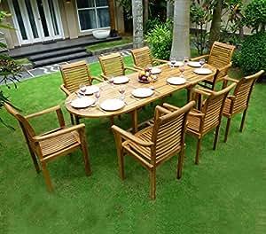 Wood en stock mobili da giardino in teak 8 sedie da for Mobili giardinaggio