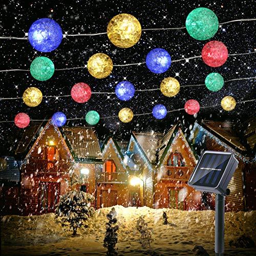 Solar Lichterkette Aussen, BrizLabs 7M 50 LED Kugeln Lichterkette Außen Bunt Knistern Kristall Solarlichterkette Wasserdicht 8 Modus Weihnachten Beleuchtung für Garten, Balkon, Terrasse, Hof, Party