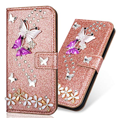 Pocket BookStyle Flip für Huawei P30 Pro,Folio Wallet Ledertasche Funkeln Bling Glitzer Diamant Butterfly Slim Leder Hülle Schutzhülle Scratch Bumper Stand Card Slots Shell Magnetverschluß