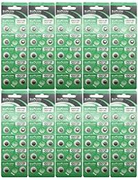 suncom Batería LR41 Uso Individual 192 Sr736 V36A 384 Sr41Sw Reloj Juguetes mandos a Distancia Cámaras (100 Piezas) Ag3 alcalinas DE 1,5 V botón de la célula