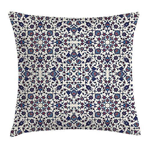 Dutars Arabesque Kissenbezug, marokkanisches Blumenmuster mit viktorianischem Rokoko-Barock-Design,...