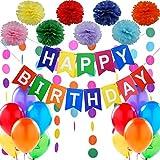 """Kit de décorations d'anniversaire - 1 Banderole Banniere de Joyeux Anniversaire """"Happy Birthday"""" + Set de 8 Pompon Fleur + 2 Guirlandes Arc En Ciel de 3 mètres + 12 Ballons Nacrés Perle Latex de 30 cm. Des idées pour les décorations par Jonamy Party"""