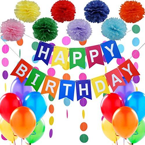 (Geburtstagsdeko, Kindergeburtstag Deko,Geburtstag Dekoration Set.1 Happy Birthday Wimpelgirlande,8 Blumenpuscheln,6 Meter Regenbogengirlande,12 Ballons.Geburtstagsparty Deko Mädchen und Jungen)