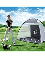 Réseau de pratique de golf portable pour économie d'espace extérieur couleur noir et blanc