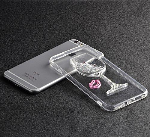 Vandot 2 en 1 Etui pour iPhone 8 Plus Souple TPU Silicone Housse Clair Transparente Coque pour iPhone 8 Plus / iPhone 7 Plus Ultra Mince Ultra Léger Cover Absorption de Choc Antidérapant Anti-rayures  Verre à vin - Argent