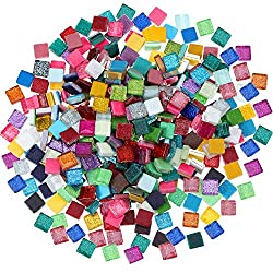 400 Piece/ 300 g Assorted Colors Mosaic Tiles Glitter Crystal Mosaic Home Decoration for DIY Crafts Supply, Square, 1 by 1 cm