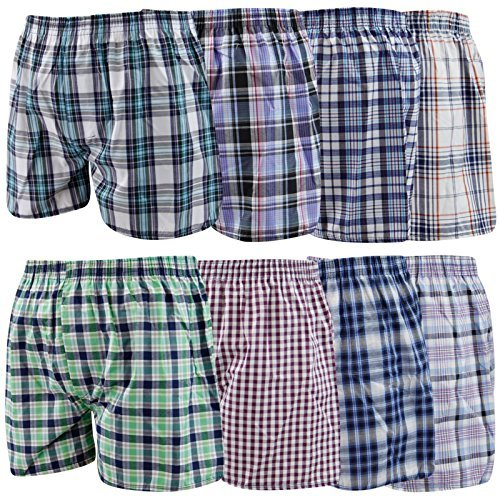 Mens Woven Check Boxer Assorted 6 Pack XL