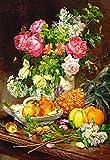 Unbekannt Puzzle 1500 Teile - Rosen Blumen in einer Vase - Stillleben - Blumenvase Nostalgie nostalgisches Bild altes Blumenstrauß Rose Obst Gemüse