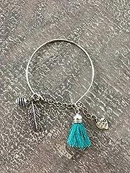 Bracelet jonc en acier inoxydable avec plume, pompon et une perle à parfumer, Bracelet Femme en acier inoxydable, idée cadea