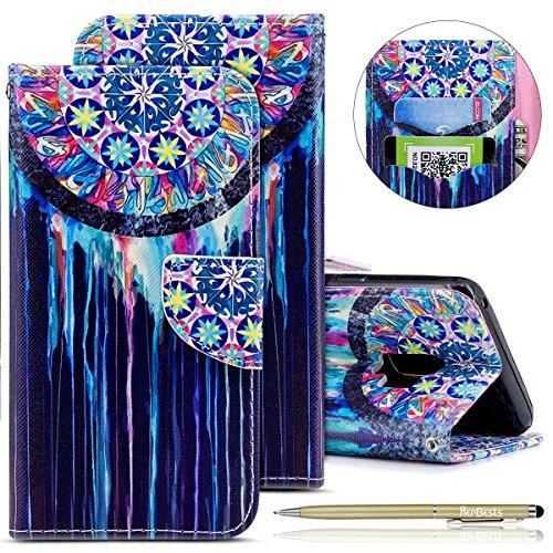 Herbests Handytasche Samsung Galaxy S9 Lederhülle Flip Case Hülle Schön Retro Bookstyle Leder Klapphülle Ledertasche Brieftasche Schutzhülle Wallet Handyhülle Leder Tasche,Bunt Traumfänger