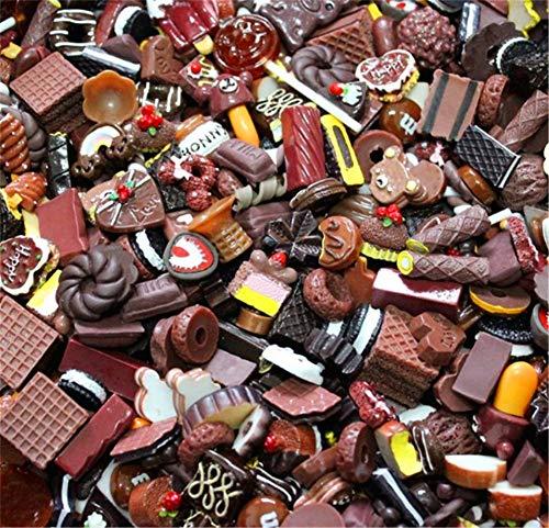 ute Candy Perlen Fruit Dessert Eis Kunstharz Charms Scheiben Flache Tasten für Handwerk Zubehör Scrapbooking Telefon Fall Decor, schokoladenbraun, 10mm-25mm ()