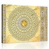 ForWall Bilder Canvas Mandala in Gold - O6 (80cm. x 60cm.) Leinwandbilder Wandbild AMFPP10117O6