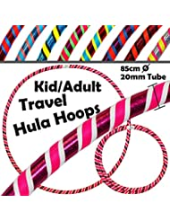KIDS Hula Hoops (Ultra-Grip/Glitter Deco) - 3 COLOUR Weighted Childrens and Adults TRAVEL Hula Hoop (85cm/33.5 inch) - Hula Hoops For Exercise, Dance & Fitness! (420g)