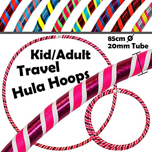 Pro KIDS HULA HOOP (85cm) Reifen für Kleine Erwachsene und Kinder (3-Farbig Ultra-Grip/Glitter Deco) Faltbarer TRAVEL Hula Hoop ideal für Hoop Dance, Fitness Training, Zirkus & FUN! - Gewicht 420g - Glitter Hula-hoop