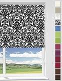 WOLTU Rollo Seitenzugrollo PVC Rollos (Schwarze Blumen, 120X190 cm)