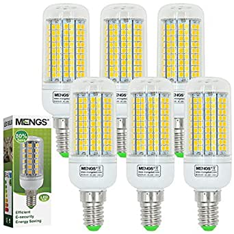 6X MENGS® E14 Lampe à LED 15W AC 220-240V, Blanc Chaud 3000K, 180x2835 SMD