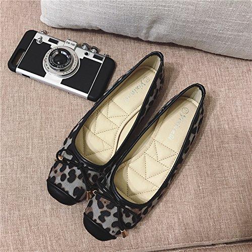 WYMBS Le cadeau le plus intime Le nouveau Leopard chaussure unique lumière avec base plate avec chaussures femmes Gray