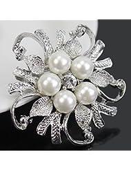 Ecloud Shop® élégant rhinestone cristal mariage nuptiale faux perles bijoux fleur broche