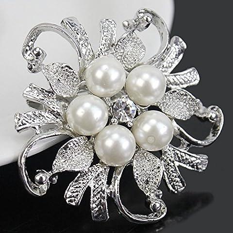 Ecloud Shop® Nuptiale Broche strass brillant mariage en cristal Faux