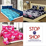 #9: Stop N Shop Super Home Combo Set of 3 Grace Cotton King Size Double Bedsheet with 6 Pillow Covers