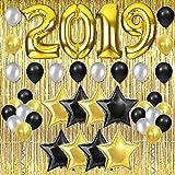 Décorations de Fête 2019 en Or avec Rideau à Franges et Ballons pour Remise desDiplômes, Retraite et Bonne Année