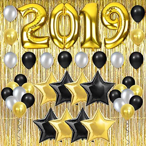 JOYMEMO 2019 Partydekorationen Gold mit Ponyvorhang und Ballons für Abschluss, Ruhestand, Happy New Year Eve Party Supplies (Ruhestand Den Für Mittelstücke)