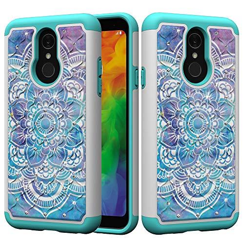 Shinyzone Stoßfest Hybrid Hülle für LG G7/LG G7 ThinQ, Dual Layer Handyhülle mit Luxus Bling Handarbeit Strass Diamant Muster Schwerlast Schutzhülle,Mandala