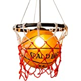HJXDtech - suspension luminaire Creative Basketball Pendant Light Abat verre Chandelier avec support E27 Copper Lamp