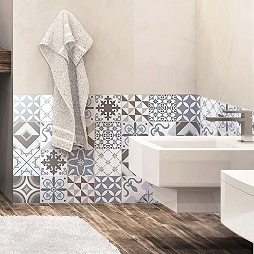 Ambiance-Live 24Aufkleber Fliesen | Sticker Selbstklebend Fliesen–Mosaik Fliesen Wandtattoo Badezimmer und Küche | Fliesen Kleber–Portugiesisch–10x 10cm–24-teilig
